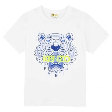 Biała koszulka dla dziecka z tygrysem Kenzo 003449