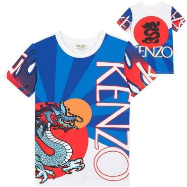 Kolorowa koszulka chłopięca Kenzo Kids 003456