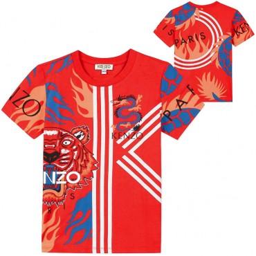 Ubrania dla dzieci Kenzo Kids - czerwona koszulka chłopięca 003457 A