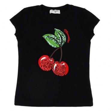 Czarny t-shirt dziewczęcy cherry Monnalisa 003471 A