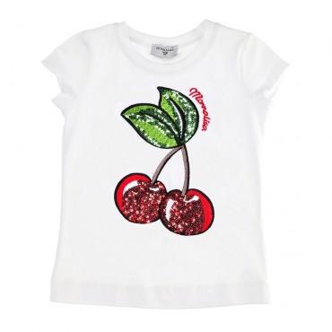 Biała koszulka dziewczęca cherry Monnalisa 003472 A