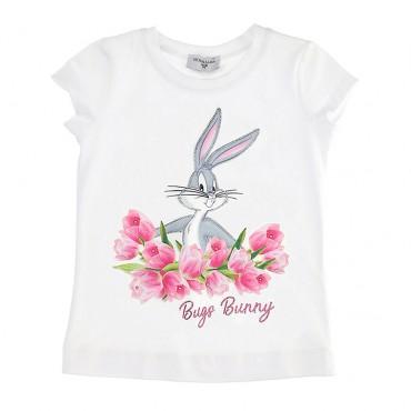 Biały t-shirt dziewczęcy Bugs Monnalisa 003480
