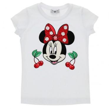 T-shirt dziewczęcy z aplikacją Monnalisa 003497
