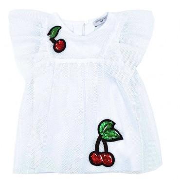Biała bluzka dziewczęca Monnalisa 003495