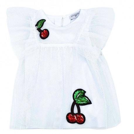 Biała bluzka dziewczęca Monnalisa 003495 A
