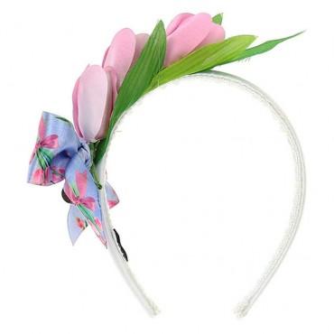 Opaska z kwiatową dekoracją Monnalisa 003517 A