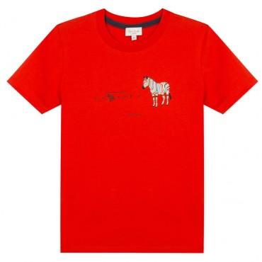 Czerwony t-shirt chłopięcy Paul Smith 003542 A