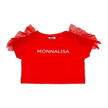 Czerwony t-shirt dla dziewczynki Monnalisa 003551