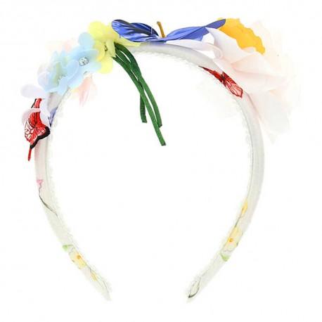Opaska na włosy z kwiatami Monnalisa 003554 A