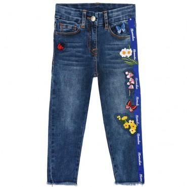 Jeansy dziewczęce z kwiatami Monnalisa 003555 A
