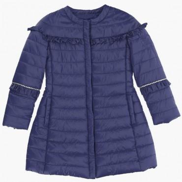 Eleganckie ubrania dla dzieci. Granatowy płaszcz dziewczęcy Monnalisa 003575 A