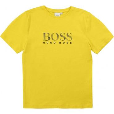 Żółty t-shirt dla dziecka Hugo Boss 003617 - ekskluzywne ubrania dla dzieci A