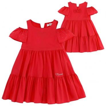 Czerwona sukienka dla dziecka Monnalisa - ubrania dla dzieci - 003652 A