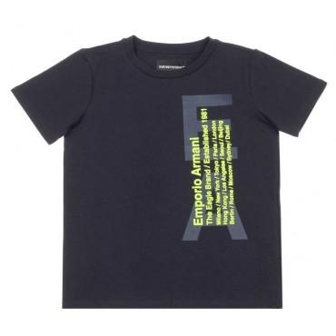 Granatowy t-shirt chłopięcy Emporio Armani 003665