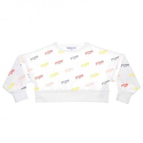 Krótka bluza dziewczęca Patrizia Pepe 003672 - stylowe ubrania dla dzieci - a