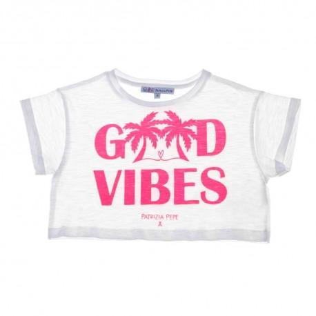 Krótki t-shirt dziewczęcy Patrizia Pepe - sklep z ubraniami dla dzieci - 003674 A