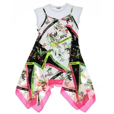 Dwuczęściowa sukienka dziewczęca Pinko Up - stylowe ubrania dla dzieci - 003692 A