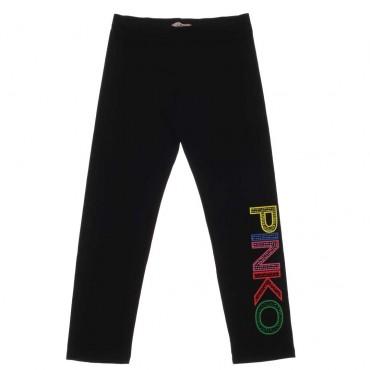 Czarne legginsy dziewczęce z logo Pinko Up 003693