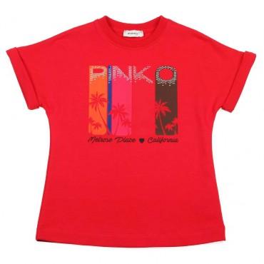 Bawełniana sukienka dla dziewczynki Pinko - modne ubrania dla dzieci - 003696
