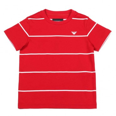 Czerwony t-shirt dla chłopca Emporio Armani - ekskluzywne ubrania dla dzieci - 003700 A