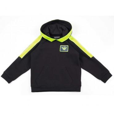 Granatowa bluza dla chłopca Emporio Armani - ekskluzywne ubrania dla dzieci - 003709 A