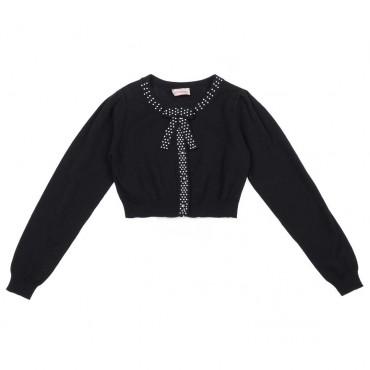 Granatowe bolerko dla dziewczynki Monnalisa - ekskluzywne ubrania dla dzieci - 003710 A