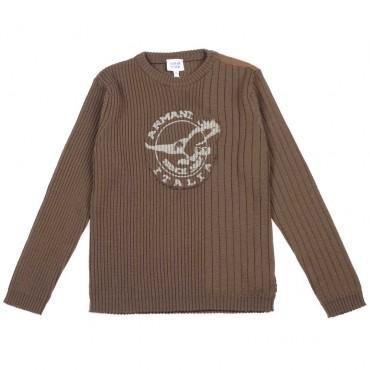 Oliwkowy sweter dla chłopca Armani Junior - oryginalne ubrania dla dzieci - 003717  A