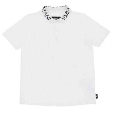 Biała koszulka polo dla chłopca Armani - ekskluzywne ubrania dla dzieci - 003724 A