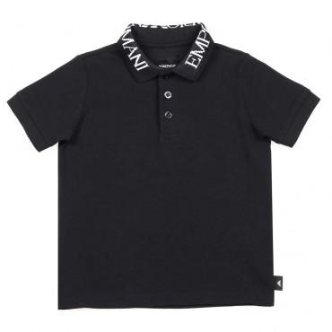 Granatowa koszulka polo dla chłopca Armani - ekskluzywne ubrania dla dzieci - 003725 A