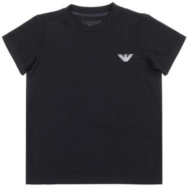 Granatowy t-shirt chłopięcy Emporio Armani 003726 - ekskluzywne ubrania dla dzieci -  A
