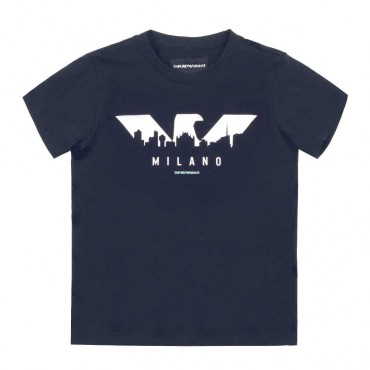 T-shirt chłopięcy Milano Emporio Armani - eksklyzywne ubrania dla dzieci -  003629 A