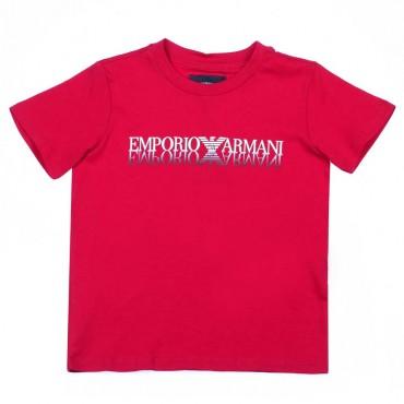 Czerwony t-shirt dla dziecka Emporio Armani - stylowe ubrania chłopięce - 003730 A