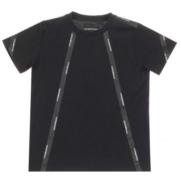 Czarny t-shirt dla dzieci Emporio Armani - ubrania dla chłopców - 003744 A