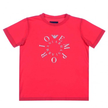 Czerwona koszulka dla chłopca Armani - ubrania dla chłopców - 003745 A