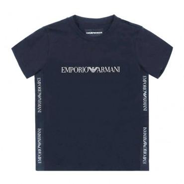 Granatowy t-shirt dla dziecka Armani 003747 A - ekskluzywne ubrania dla dzieci