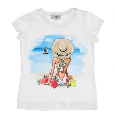 T-shirt dziewczęcy z nadrukiem Monnalisa 003773