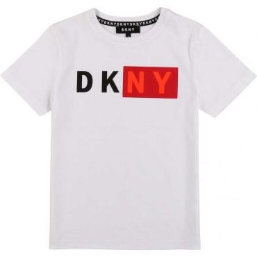 Biały t-shirt chłopięcy z nadrukiem DKNY 003814