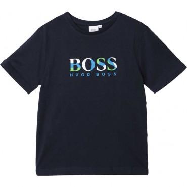 Granatowy t-shirt chłopięcy logo Hugo Boss 003843