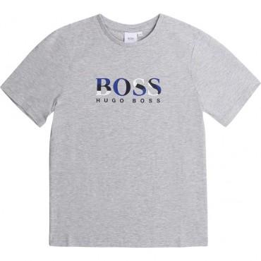 Szary t-shirt dla chłopca z logo Hugo Boss 003844