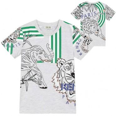 T-shirt chłopięcy z nadrukami Kenzo Kids 003855 A