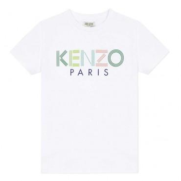 Biały t-shirt dla dziecka z logo Kenzo Kids 003856 A