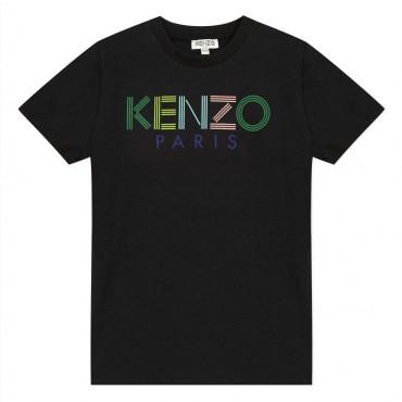 Czarny t-shirt dla dzieci z logo Kenzo Kids 003857