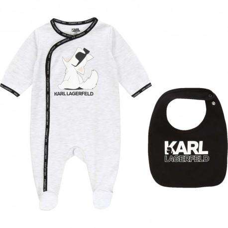 Pajacyk niemowlęcy i śliniak Karl Lagerfeld 003870 A