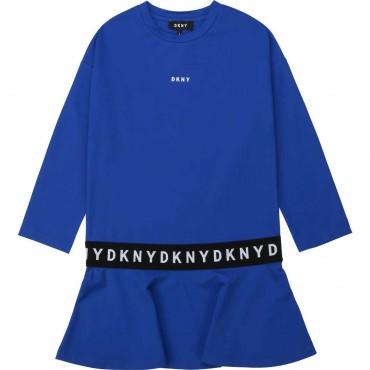 Kobaltowa sukienka dla dzieczynki DKNY 003898