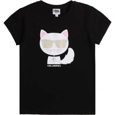 Czarny t-shirt dla dziecka Karl Lagerfeld 003911 A