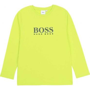 Limonkowy longsleeve dla chłopca Hugo Boss 003917