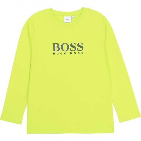 Limonkowy longsleeve dla chłopca Hugo Boss 003917 A