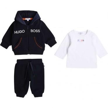 Granatowy komplet niemowlęcy Hugo Boss 003920 A