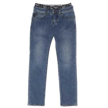 Jeansy chłopięce z logowaną gumą Armani 003928 A