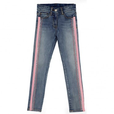 Jeansy dziewczęce z perełkami Monnalisa 003956 A
